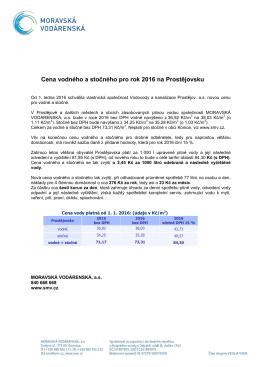 Cena vodného a stočného pro rok 2016 na Prostějovsku