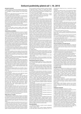 Smluvní podmínky platné od 1. 10. 2015