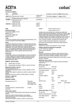 Informace pro objednání Analyzátory, na kterých lze cobas c pack(y