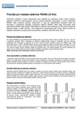 Pravidla pro Pravidla pro instalaci instalaci instalaci - ACS-line