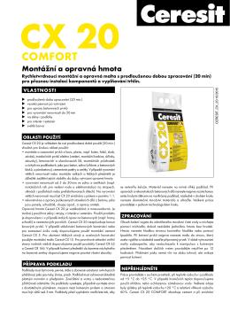 Technický list – Ceresit CX 20 Montážní a opravná hmota