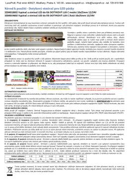 Návod k použití - Dotykový stmívač pro LED pásky