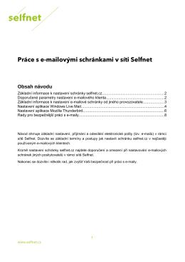 Práce s e-maily v síti Selfnet