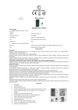 BEZDRÁTOVÝ ZVONEK Návod k obsluze Katalogové číslo: ZTB-83N