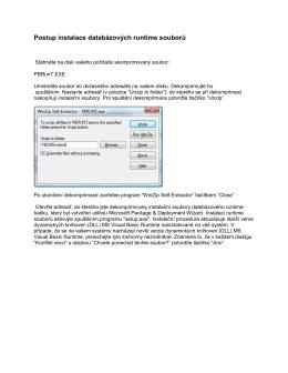 Postup instalace databázových runtime souborů