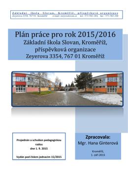 Plán práce pro rok 2015/2016