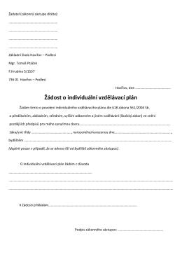 Žádost o individuální vzdělávací plán