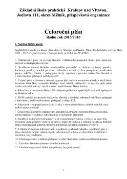Celoroční plán školy - Základní škola praktická Kralupy nad Vltavou