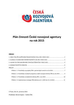 Plán činnosti ČRA na rok 2015