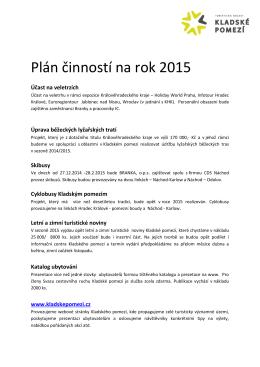 Plán činností na rok 2015