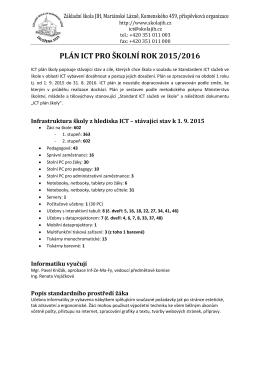 Plán ICT 2015/16 - Základní škola JIH Mariánské Lázně