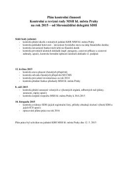 Plán kontrolní činnosti Kontrolní a revizní rady MSH hl