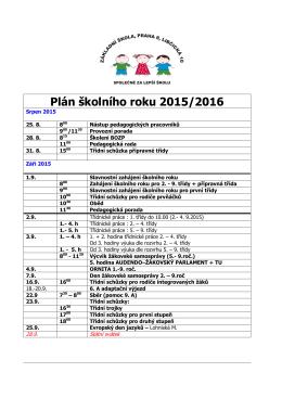 Plán školního roku 2015/2016