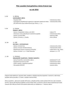 Plán zasedání Zastupitelstva města Krásná Lípa na rok 2016