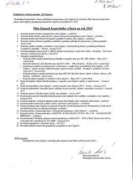 Plán činnosti kontrolního výboru na rok 2015