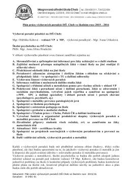 Plán práce VP ISŠ Cheb 2015/2016