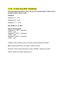 11.10. - V Tahu! Cup 2015