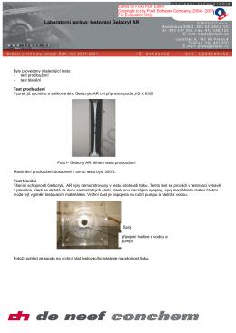 Laboratorní zpráva: testování Gelacryl AR