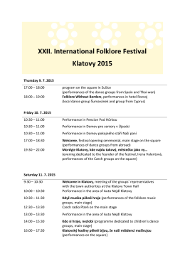 XXII. International Folklore Festival Klatovy 2015