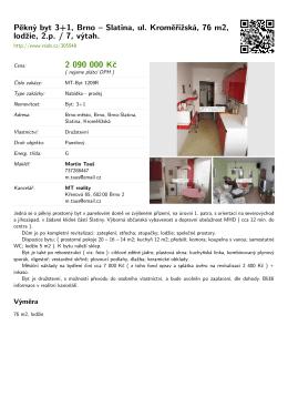 Pěkný byt 3+1, Brno – Slatina, ul. Kroměřížská, 76 m2