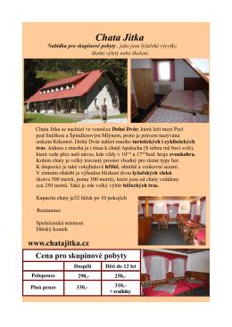Tipy na výlet - Chata Jitka Dolní Dvůr
