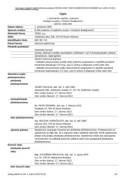 Výpis subjektu TEBO, a.s.