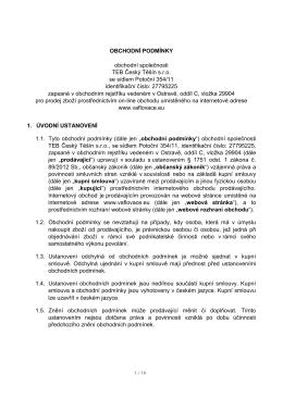 OBCHODNÍ PODMÍNKY obchodní společnosti TEB Český Těšín sro
