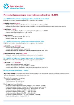 Preventivní programy pro celou rodinu s platností od 1.8.2015