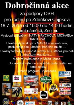 za podpory OSH pro rodinu po Zdeňkovi Cejpkovi 18.7. 2015 od