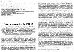 1. císlo zpravodaje NOVÝ JERUZALÉM 2016