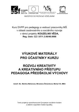 Výukové materiály - Rozvoj kreativity