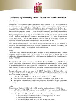 Informace o dopadech novely zákona č. 87/1995 Sb. o spořitelních a