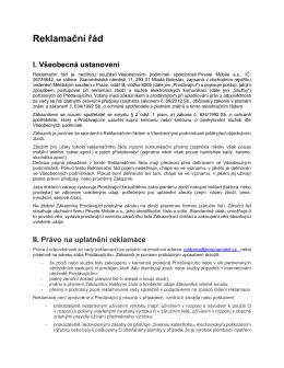 Reklamační řád platný od 1. 9. 2015 (ke stažení ve formátu PDF)