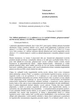 Sdělení společnosti A A A radiotaxi s.r.o. k (v pořadí třetímu)