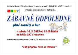 Základní škola a Mateřská škola Vranovice a spolek Přátelé ZŠ a