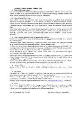Aktualita č. 3/2015 pro členy a přátele ČSRS 1. Finanční dotace pro