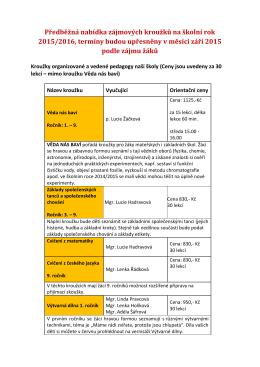 Předběžná nabídka zájmových kroužků na školní rok 2015/2016