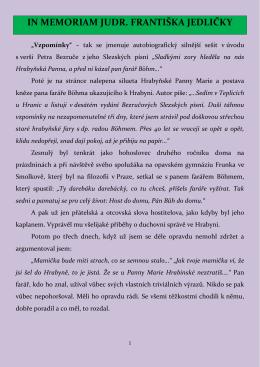 Vzpomínky P. Františka Jedličky