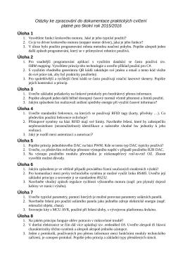 Otázky ke zpracování do dokumentace praktických cvičení platné