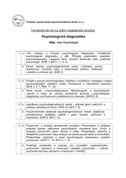 Psychologická diagnostika - Pražská vysoká škola psychosociálních
