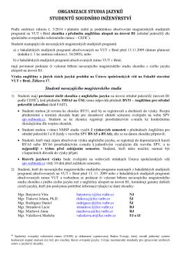 Organizace studia ÚSI 2015-16