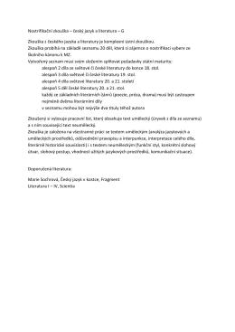 Nostrifikační zkouška – český jazyk a literatura – G Zkouška z