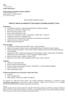 Tisková/ý mluvčí na ředitelství České inspekce životního prostředí v