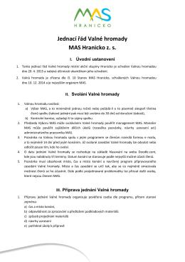 Jednací řád Valné hromady MAS Hranicko z. s.