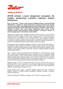 TISKOVÁ ZPRÁVA www.zetor.com ZETOR přichází