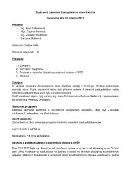 Zápis z veřejného zasedání zastupitelstva ze dne 12. 3
