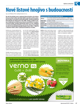 Článek Verno FG – Agromanuál 4/2015