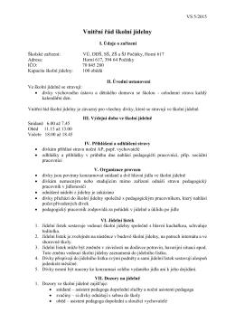 01.06.2015 Vnitřní řád školní jídelny