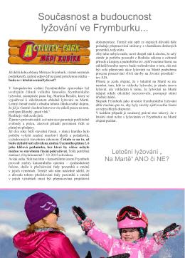 Současnost a budoucnost lyžování ve Frymburku