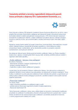 Tematický přehled a termíny - Svaz chemického průmyslu ČR